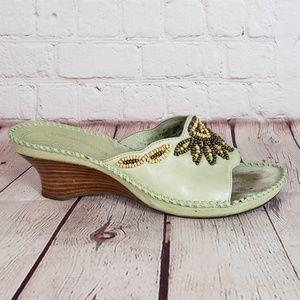 Clarks Artisan Leather Beaded Slide Wedge Sandals